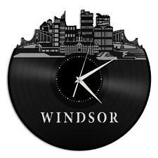 Windsor Vinyl Wall Clock Cityscape Vintage Home Living Room Decor Decorative