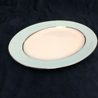 "Nancy Prentiss Skyridge Oval Platter Fine China Light Aqua 15 1/2"" USA Vintage"