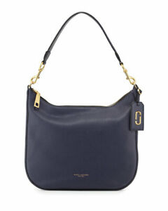 Brand New $495 MARC JACOBS Gotham City Midnight Navy Blue Leather Hobo Bag