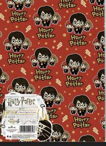 Hallmark Harry Potter Red Gift Wrap 2 Sheets & 2 Tags Hallmark Birthday 25519050