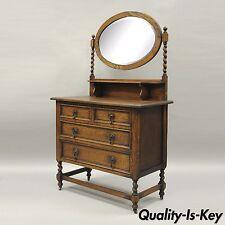 Antique Oak Barley Twist Dresser Chest & Mirror Jacobean English Renaissance Sty