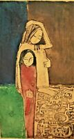 LEE LONG LOOI Asian Mother Child Modern Abstract Artist Proof Hand Color Etching