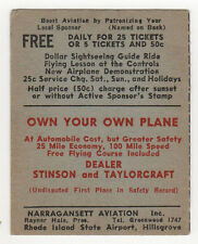 1940s NARRAGANSETT AVIATION Rhode Island State Airport STINSON Taylorcraft PLANE