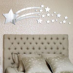 US Removable 3D Mirror Star Decal Art Mural Acrylic Wall Sticker Home DIY Decor