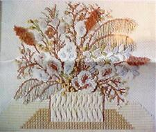 Bucilla Needlepoint Kit Dried Flowers Tapestry Novelty Yarns Browns Tans Grays