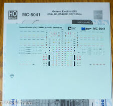 Microscale Decal HO #MC-5041 General Electric (GE) Data for: ES44AC, ES44DC GEVO