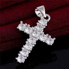 Classic Cross Necklace Rhinestone Shiny Cubic Zirconia Silver Pendant Lucky Gift