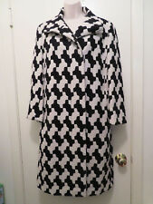Vintage Akris Punto Women's Designer Black White Geometric Long Coat 10 6