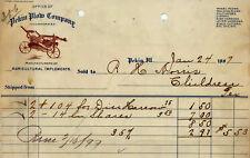 1899 ILLINOIS Billhead PEKIN PLOW COMPANY farm machinery FARMING agriculture