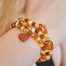 Genuine Natural Baltic Amber Bracelet Heart Pendant Silver Multicolour Gift