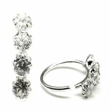 Sterling Silver White CZ Hoop Nose Rings Wire endless 22 Gauge