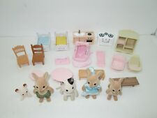 30 Piece Lot of Epoch Calico Critters Dollhouse Furniture, Figures, Bedding