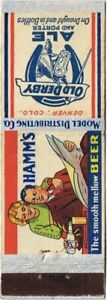 """Rare 1930s RIPON Old Derby & HAMM'S BEER """"Ideal Marriage"""" Matchcover TavernTrove"""