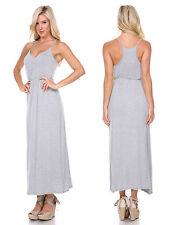 Sexy Grey CORAL Women V Neck Sleeveless Casual Party Long Maxi Beach Dress