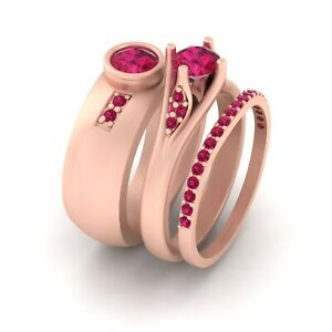 Pink Ruby His and Her Matching Anniversary Ring Band Set For Couples 925 Silver