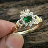 1 Ct Heart Shape Emerald Diamond Claddagh Engagement Ring 14k Yellow Gold Over
