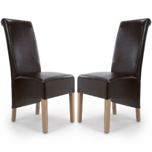 KRISTA ROLL BACK BONDED LEATHER BROWN DINING  CHAIRS x 2 (a pair)