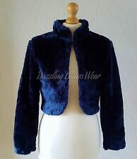 Navy Blue Faux Fur Bolero Jacket/Shrug/Stole/Tippet/Shawl/Wrap Satin Lining LS