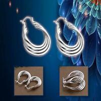 Lightweight 925 Sterling Silver Plated 4 Twisted Coil Loops Hinged Hoop Earrings
