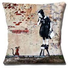 Banksy Graffiti Artist Cushion Cover 16x16 inch 40cm Screaming Girl on Stool Rat