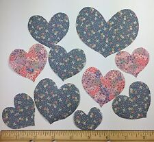 Small Print Calico RARE Fabric 40 Hand Cut HEARTS Appliques VIP Blue Pink Iron