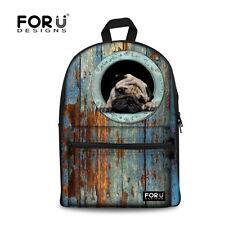 Cute Animal Pug School Bag For Junior School Boys Girls Canvas Backpack Bookbags
