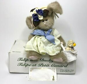 """Vintage The Bearington Collection Tulip and Ducky #1077 17"""" Collectible Plush"""
