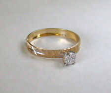 10k Yellow Gold Burnished Engagement Style Band w/Diamond Solitaire~~Sz 7.25