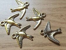10 Antique Gold BIRD DOVE SWALLOW CHARM/PENDANT 18mm-Jewellery making-Crafts