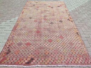 "Turkish Sardes Kilim Rug, Red Color Rug, Area Rugs 6x9 Carpet, Wool Rug 66""X118"""