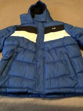 cb sports boys puffer jacket blue black white size m 10-12 new with tags