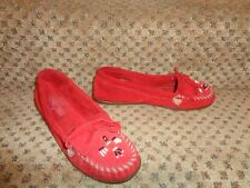 MINNETONKA RED SUEDE LEATHER BEADED WHIPSTITCH TOE SLIP-ON MOCCASINS SHOES--8