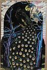 Original Vintage Poster Peacock Blacklight poster vintage velvet flocked 1970s