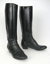 Salvatore Ferragamo Tall Riding Boots Women Size 7 Black Leather Zip Low Heels