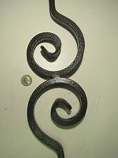 """**SOLID**IRON 41"""" NAUTILUS DOUBLE SCROLL SILVER VEIN BALUSTER PORCH STAIR RAIL"""