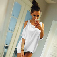 Womens Cold Shoulder Loose T Shirt Tops Ladies 3/4 Sleeve Casual Mini Dress 6-16