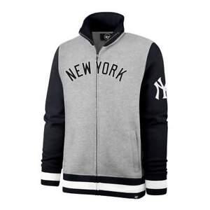 '47 New York Yankees Iconic Track Jacket - Gray - Full Zip Fleece Sweater