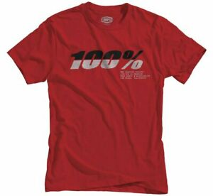 100% Brand Men's Bristol T Shirt MX Motocross Moto Red Dri-fit Tee