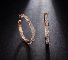 "multi Cz 1.25"" hoop earrings Superb rose gold plated reflective"
