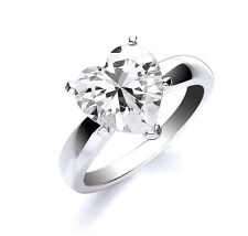 Heart Ring Solitaire Ring High Set Ring Rhodium Plate Sterling Silver Engagement