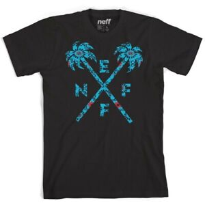 New Neff Men's Crossed Palm Cotton Short Sleeve T-Shirt Large Black