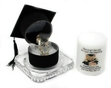 Crystal Glass Glass OWL in mitre hat & Candle personalised Gift #8