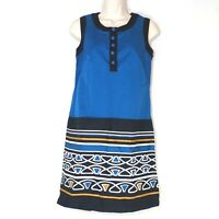 Ann Taylor Loft Sheath Dress Women Size 0 Blue Black Sleeveless Cotton