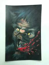 WEREWOLF WOLF ORIGINAL GEORGE SILLIMAN COLORED PENCIL ART LOWBROW HORROR