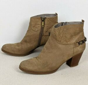Sam Edelman Circus Jet Panther Chain Ankle Bootie Suede Zip Women's Size 8 Brown