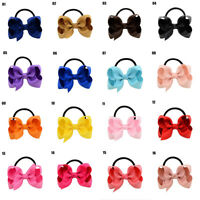 1x Baby Kid Girl Child Ribbon Bow Elastic Rubber Band Hair Rope Tie Accessories