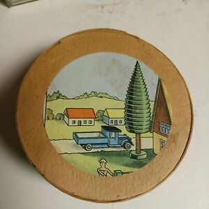 Vintage Erzgebirge Putz wooden village figures, fence & animals, Made in Germany