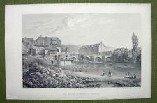 GERMANY Munden Old Palace & Bridge - 1820s Copper Engraving by Cpt. Batty