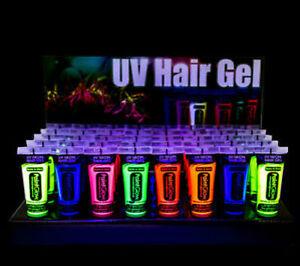 Vernice UV fluorescente per capelli in tutti i 7 colori da 20ml lampada wood