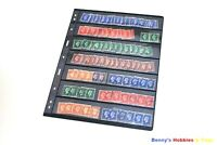 10 Sheets Stamp Stock Pages (1-7 Strip) w 9 Binder Holes - Black & Double Sided